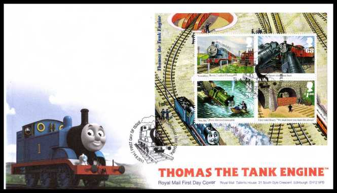 view larger back view image for Thomas the Tank Engine minisheet on an unaddressed official Royal Mail FDC cancelled with the official alternative FDI cancel for BOX - CORSHAM - WILTSHIRE dated 14-06-2011