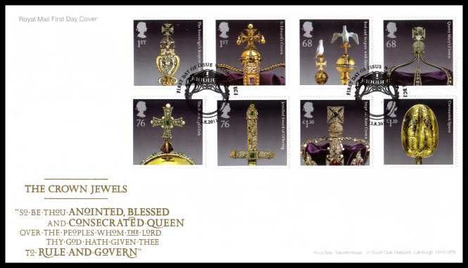 view larger back view image for The Crown Jewels set of eight on an unaddressed official Royal Mail FDC cancelled with the official alternative FDI cancel for LONDON - EC3 dated 23-8-2011