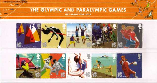 Stamp Image: view larger back view image for Olympic and Paralympic Games - Get Ready for 2012