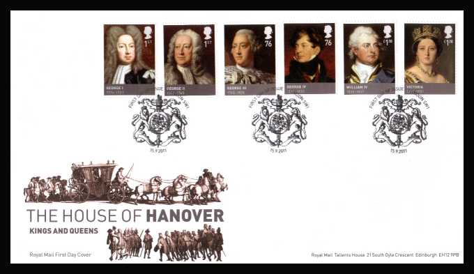 view larger back view image for Kings and Queens - 5th Issue - House of Hanover set of six on an unaddressed official Royal Mail FDC cancelled with the official alternative FDI cancel for LONDON SW1 dated 15-9-2011.