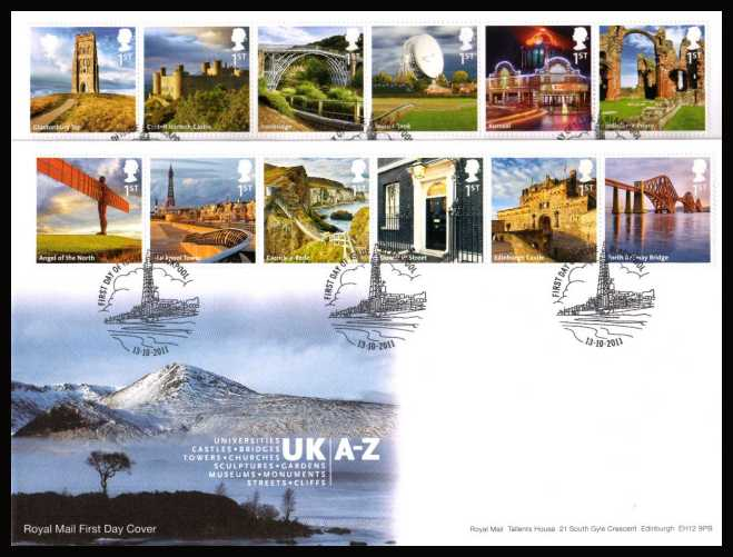 view larger back view image for UK A-Z - 1st Series set of twelve in two strips of six on a pair of unaddressed official Royal Mail FDC's cancelled with the official alternative FDI cancel for BLACKPOOL  dated 13-10-2011