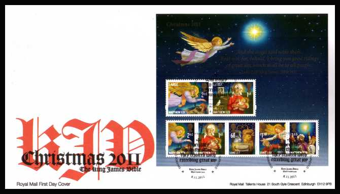 view larger back view image for Christmas - The King James Bible minisheet on an unaddressed official Royal Mail FDC cancelled with the official alternative FDI cancel for BETHLEHEM - LLANDEILO dated 8-11-2011.