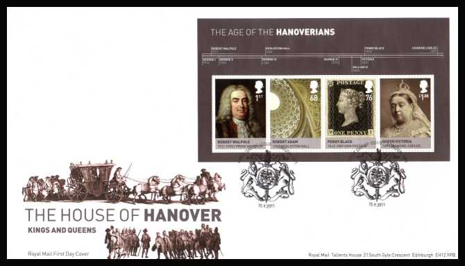 view larger back view image for Kings and Queens - 5th Issue - House of Hanover minisheet on an unaddressed official Royal Mail FDC cancelled with the official alternative FDI cancel for LONDON SW1 dated 15-9-2011.