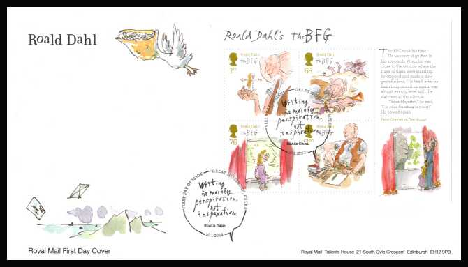 view larger back view image for Roald Dahl minisheet on an unaddressed official Royal Mail FDC cancelled with the official alternative FDI cancel for GREAT MISSENDEN - BUCKS dated 10-1-2012.