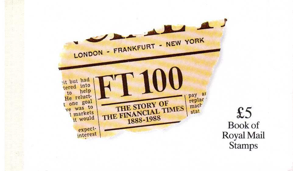 British Stamps Prestige Booklets Item: view larger image for SG DX9 (1988) - £5 - 'The Story of The Financial Times'