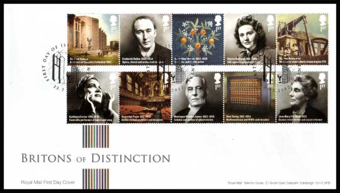 view larger back view image for Britons of Distinction set of ten in two strips of five on an unaddressed official Royal Mail FDC cancelled with the official alternative FDI cancel for COVENTRY dated 23-2-2012