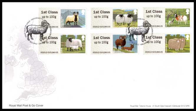 view larger back view image for ROYAL MAIL 'POST & GO' - British Farm Animals - Sheep - 1st Series set of six on an unaddressed official Royal Mail FDC cancelled with the official alternative FDI cancel for SHEEPDROVE - LAMBOURN - HUNGERFORD dated 24-2-2012