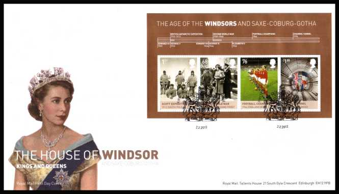 view larger back view image for House of Windsor minisheet on an unaddressed official Royal Mail FDC cancelled with the official alternative FDI cancel for WINDSOR - BERKSHIRE dated 2-2-2012