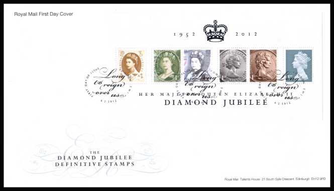 view larger back view image for The Diamond Jubilee Definitive stamps minisheet on an unaddressed official Royal Mail FDC cancelled with the official alternative FDI cancel for LONDON SW1 dated 6-2-2012