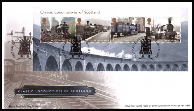 view larger back view image for Classic Locomotives of Scotland minisheet on an unaddressed official Royal Mail FDC cancelled with the official alternative FDI cancel for GLASGOW dated 8-3-2012