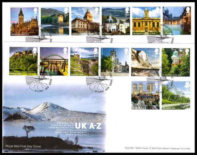 view larger back view image for UK A-Z - 2nd Series set of fourteen in two strips of six on a pair of unaddressed official Royal Mail FDC's cancelled with the official alternative FDI cancel for DOVER - KENT dated 10-4-2012