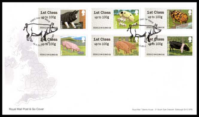 view larger back view image for ROYAL MAIL 'POST & GO' - British Farm Animals - Pigs - 2nd Series set of six on an unaddressed official Royal Mail FDC cancelled with the official alternative FDI cancel for SWINE - HULL dated 24-4-2012