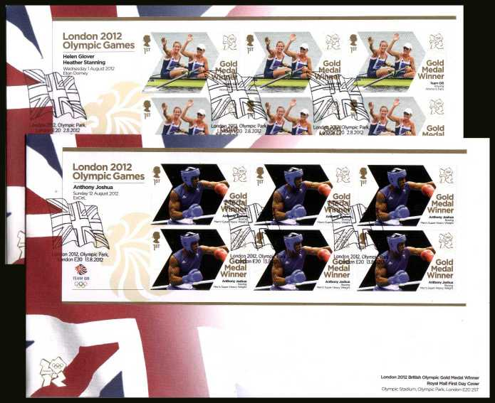 view larger back view image for The complete set of 29 Gold Medal Winners minisheets on unaddressed official FDCs cancelled with OLYMPIC PARK E20 dated 2-8-2012 to 13-8- 2012 <b>OLY2012</b> <br>Note: To see all issues related to Olympics type <b>OLY2012</b> into searchbox on this page.