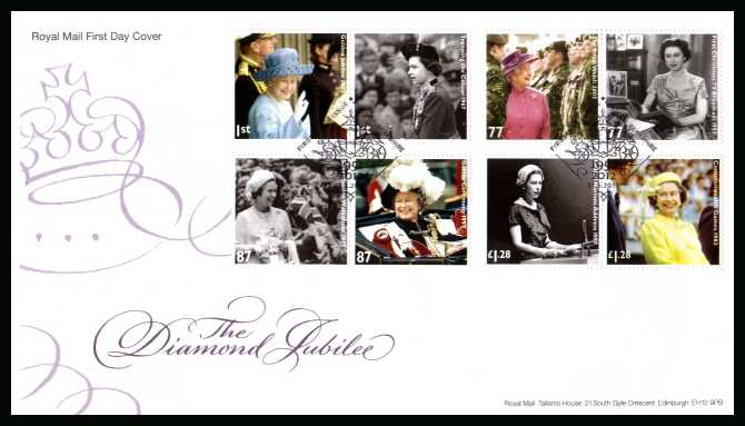 view larger back view image for Diamond Jubilee - 3rd Issue set of eight in pairs - Photo Printing - on an unaddressed official Royal Mail FDC cancelled with the official alternative FDI cancel for WINDSOR - BERKSHIRE dated 31-5-2012