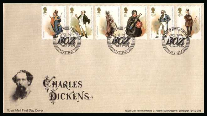 view larger back view image for Charles Dickens set of six on an unaddressed official Royal Mail FDC cancelled with the official alternative FDI cancel for PORTSMOUTH dated 19-6-2012