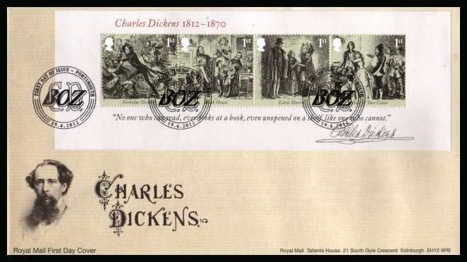 view larger back view image for Charles Dickens minisheet on an unaddressed official Royal Mail FDC cancelled with the official alternative FDI cancel for PORTSMOUTH dated 19-6-2012