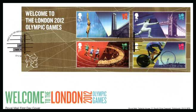 view larger back view image for Welcome to London Olympic Games minisheet on an unaddressed official RoyalMail FDC cancelled with the official  FDI cancel for LONDON - E20 dated 27-7-2012</b> <br>Note: To see all issues related to Olympics type <b>OLY2012</b> into searchbox on this page