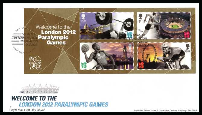 view larger back view image for Welcome to Paralympic Games minisheet on an unaddressed official RoyalMail FDC cancelled with the official  FDI cancel for LONDON - E20 dated 29-8-2012</b> <br>Note: To see all issues related to Olympics type <b>OLY2012</b> into searchbox on this page