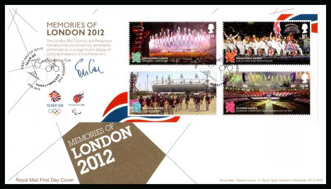view larger back view image for Memories of Olympics minisheet on an unaddressed official Royal Mail FDC cancelled with the official alternative FDI cancel for LONDON - W1 dated 27-9-2012</b> <br>Note: To see all issues related to Olympics type <b>OLY2012</b> into searchbox on this page