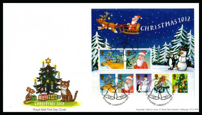 view larger back view image for Christmas minisheet on an unaddressed official Royal Mail FDC cancelled with the official alternative FDI cancel for BETHLEHEM  dated 6-11-2012