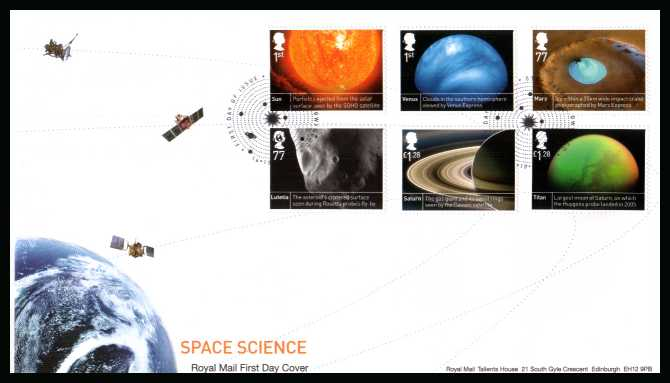 view larger back view image for Space Science set of six on an unaddressed official Royal Mail FDC cancelled with the official alternative FDI cancel  dated 16-10-2012