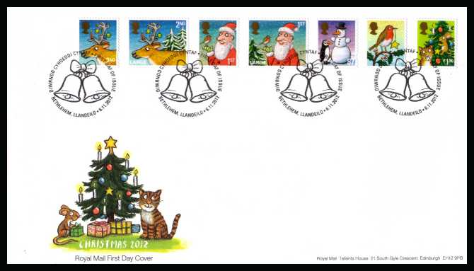 view larger back view image for Christmas set of seven on an unaddressed official Royal Mail FDC cancelled with the official alternative FDI cancel for BETHLEHEM dated 6-11-2012
