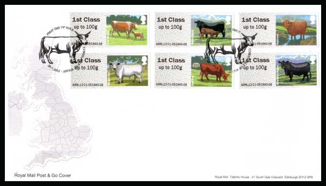view larger back view image for ROYAL MAIL 'POST & GO' - British Farm Animals - Cattle - 3rd Series set of six on an unaddressed official Royal Mail FDC cancelled with the official alternative FDI cancel for COWES - ISLE OF WIGHT dated 28-9-2012