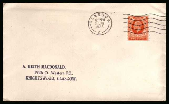 view larger back view image for 2d Orange Photogravure single on a  neat and clean very neatly opened envelope cancelled with a crisp GLASGOW wavy line cancel dated 21 JAN 1935.