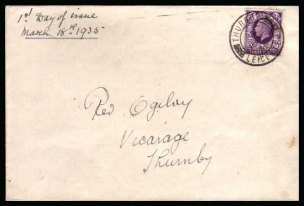 view larger back view image for 3d Reddish Violet Photogravure single on a complete envelope endorsed ''First Day of Issue'' cancelled with a single crisp double ring CDS for THURMBY - LEICESTER  dated 18 MR 35.