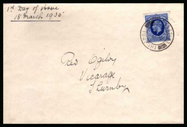 view larger back view image for 2�d Bright Blue Photogravure single on a complete envelope endorsed ''First Day of Issue'' cancelled with a single crisp double ring CDS for THURMBY - LEICESTER dated 18 MR 35.