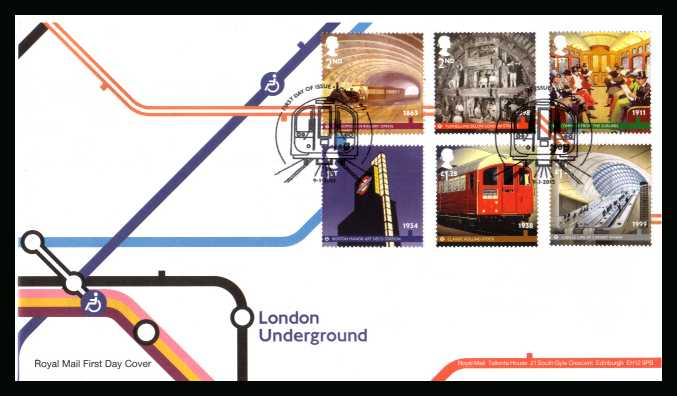 view larger back view image for The London Underground set of six on an unaddressed official Royal Mail FDC cancelled with the official alternative FDI cancel for LONDON W2 dated 9-1-2013