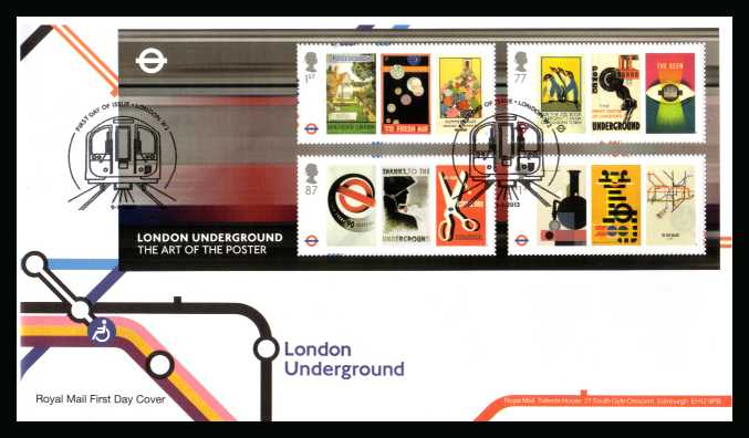 view larger back view image for The London Underground minisheet on an unaddressed official Royal Mail FDC cancelled with the official alternative FDI cancel for LONDON W2 dated 9-1-2013
