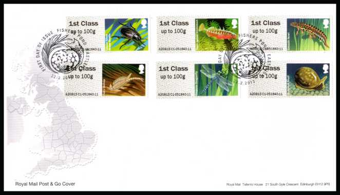 view larger back view image for ROYAL MAIL 'POST & GO' - Freshwater Life - Ponds - 1st Series set of six on an unaddressed official Royal Mail FDC cancelled with the official alternative FDI cancel for FISHERS POND - EASTLEIGH dated 22-2-2013