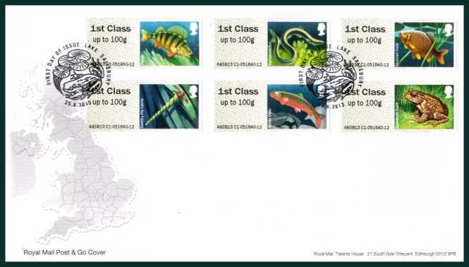 view larger back view image for ROYAL MAIL 'POST & GO' - Freshwater Life - Ponds - 2nd Series set of six on an unaddressed official Royal Mail FDC cancelled with the official alternative FDI cancel for LAKE - SALISBURY dated 25-6-2013