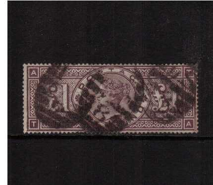 view larger image for SG 185a (1883) - �Brown watermark Imperial Crowns lettered 'T-A' thus showing the famous frame break SW corner however the stamp has been extensively repaired. SG Cat �00