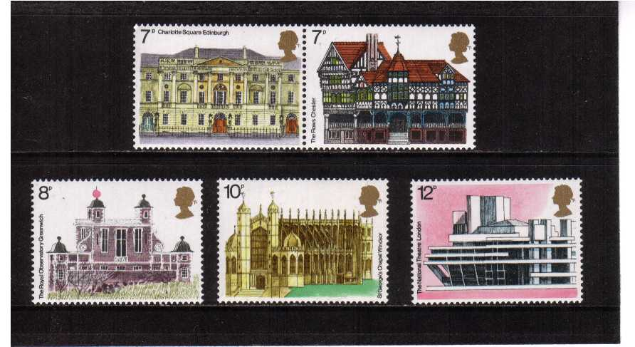view larger image for SG 975-979 (1975) - Architectural Heritage Year set of five