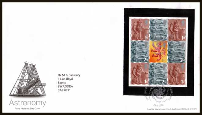 view larger back view image for Astronomy booklet pane of eight stamps on a neatly typed addressed official Royal Mail FDC cancelled with the official alternative FDI cancel for STAR - GLENROTHES dated 24-9-2003.