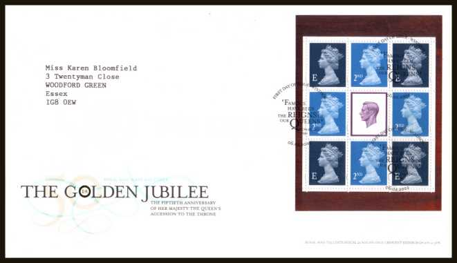 view larger back view image for ''A Gracious Accession'' - Golden Jubilee of Queen Elizabeth booklet pane of eight stamps on a neatly typed addressed official Royal Mail FDC cancelled with the official alternative FDI cancel for WINDSOR dated 06-02-2002.