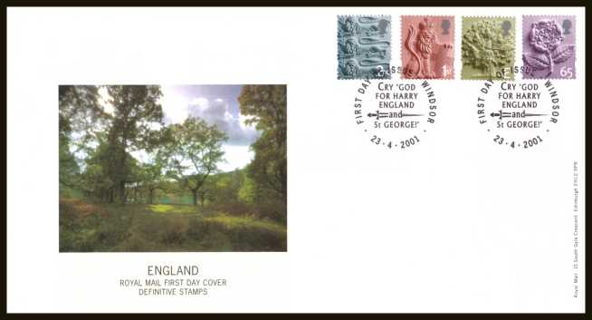 view larger back view image for ENGLAND set of four (2nd - 65p) on an unaddressed official Royal Mail FDC cancelled with the official FDI cancel for WINDSOR dated 23-4-2001