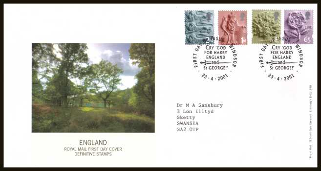 view larger back view image for ENGLAND set of four (2nd - 65p) on a neatly typed addressed official Royal Mail FDC cancelled with the official FDI cancel for WINDSOR dated 23-4-2001