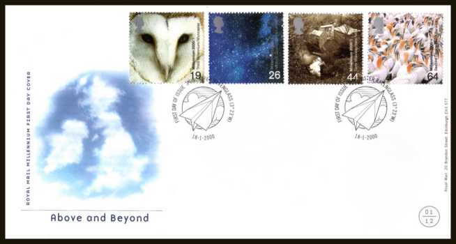 view larger back view image for Millennium Projects - 1st Series - ''Above and Beyond'' set of four on an unaddressed official Royal Mail FDC cancelled with the official alternative FDI cancel for MUNCASTER - RAVENGLASS dated 18-1-2000.