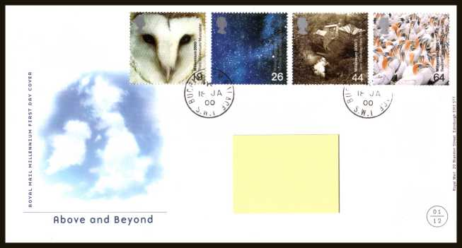 view larger back view image for Millennium Projects - 1st Series - ''Above and Beyond'' set of four on a neatly typed official Royal Mail FDC cancelled with two strikes of the steel CDS for BUCKINGHAM PALACE - SW1 dated 18-1-2000. Note that addressee's name covered on scan only.