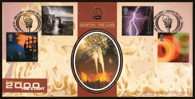 view larger back view image for Millennium Projects - 2nd Series - ''Fire and Light'' set of four on an unaddressed Benham FDC cancelled with an FDI cancel for GREAT YARMOUTH dated 1-2-2000. BLCS174 Numbered 1320 of 5000