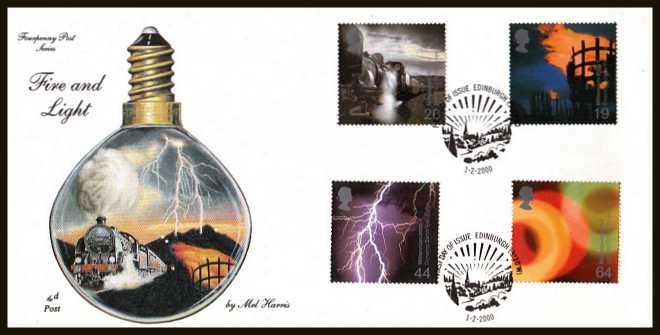 view larger back view image for Millennium Projects - 2nd Series - ''Fire and Light'' set of four on an unaddressed 4d Post FDC cancelled with the official alternative FDI cancel for EDINBURGH dated 1-2-2000.