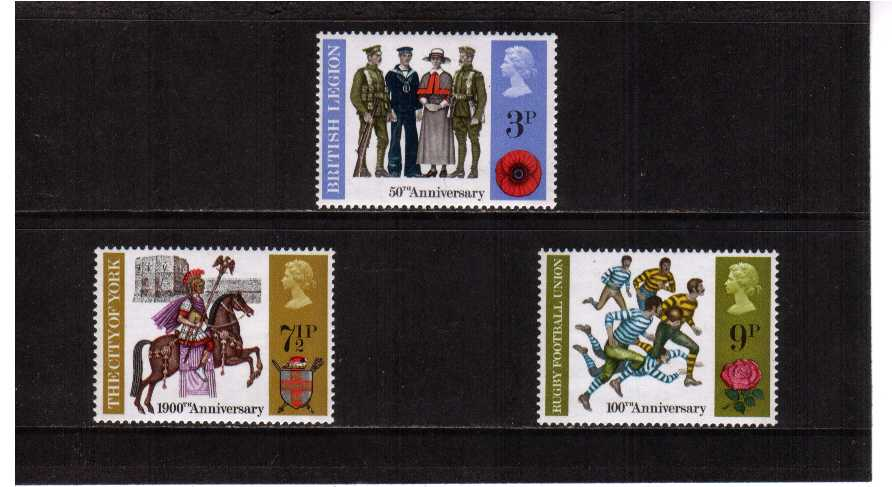 view larger image for SG 887-889 (1971) - British Anniversaries set of three