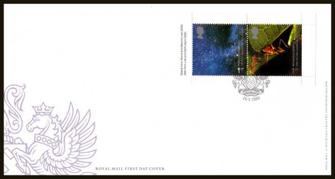 view larger back view image for Millennium 'Above and Beyond' and 'Life and Earth' 1st class se-tenant booklet pane of two on an unaddressed official Royal Mail FDC cancelled with the official alternative FDI cancel for LEICESTER dated 26-5-2000.