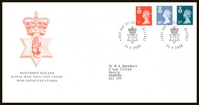 view larger back view image for NORTHERN IRELAND set of three (1st 40p 65p) on a neatly typed addressed official Royal Mail FDC cancelled with the official alternative FDI cancel for BELFAST dated 25-4-2000.