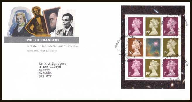 view larger back view image for ''World Changers'' Machin values booklet pane of 8 on a neatly typed addressed official Royal Mail FDC cancelled with the official alternative cancel for DOWNE - ORPINGTON dated 21-9-1999