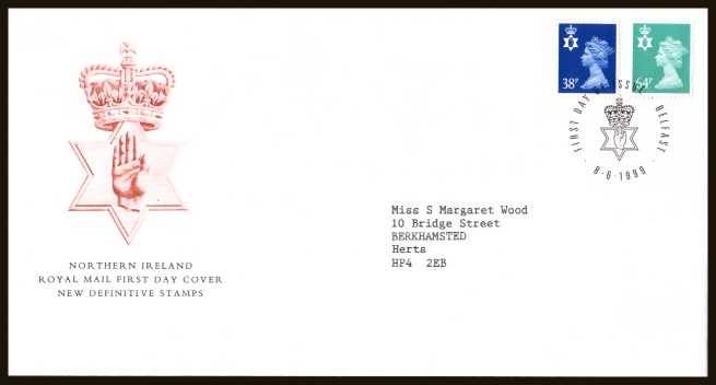 view larger back view image for NORTHERN IRELAND - 38p to 64p on a neatly typed addressed official Royal Mail FDC cancelled with a FDI cancel for BELFAST dated 8-6-1999