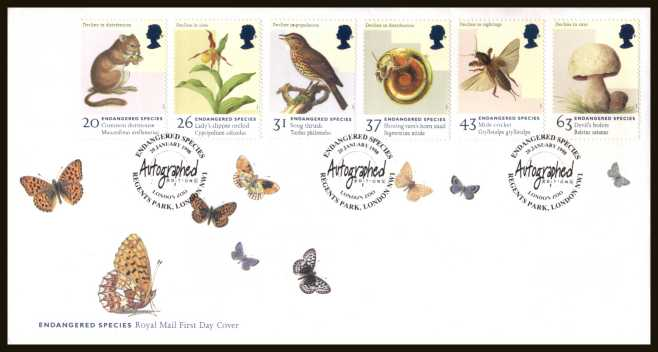 view larger back view image for Endangered Species set of six on an unaddressed official Royal Mail FDC cancelled with the  alternative FDI cancel for AUTOGRAPHED EDITIONS - LONDON ZOO - NW1 dated 20-JAN-1998.
